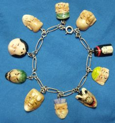 Art Deco Faux Ivory Celluloid Charm Bracelet Chinese Immortals Carved Faces