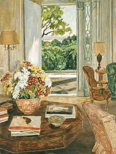 Marjorie Phillips The Open Door 1956 This is such a lovely peaceful, serene picture! It makes one think of going to visit your grandparents and how the door was always open on a warm pleasant day. So welcoming and a really beautiful picture. Karen 2/6/13