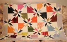 Patchwork Quilt, Hunter's Star Lap or Child's Quilt, modern colourful quilt,  quilted throw - pinned by pin4etsy.com