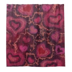 Puffy hearts romantic love pink red valentines day shower curtain ($73) ❤ liked on Polyvore featuring home, home decor, window treatments, curtains, valentine, felt, gift, hearts, valentines day home decor and red window treatments