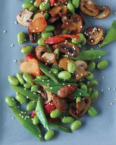 Warm edamame salad - with mushrooms, sugar snap peas, red peppers, ginger