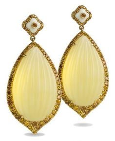 Carved Russian amber, resin and mustard diamond earrings in yellow gold.
