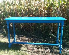 Vintage cobalt blue console table - great pop of color in your home!