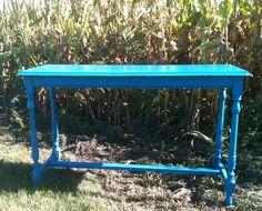 Vintage cobalt blue console table - so fun! @Georgia's Home Inspirations