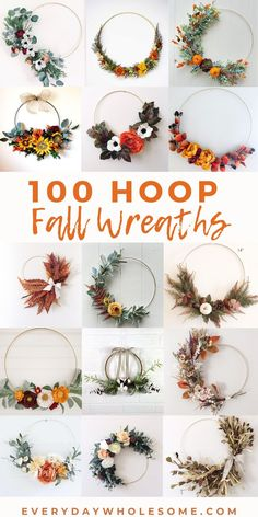 100 Hoop Wreath for Fall & autumn - DIY or at wedding or as home or front door decorations. Some are gol, silver or wooden. Some have greenery, peonies, hydrangeas, eucalyptus, olive branches, sunflowers, pampas grass, cotton, poppy, Gerber daisies, dried billy button swag, while others have faux fruit citrus and lemons some are modern, others boho chic and others farmhouse style. Many are minimalist style. #hoopwreaths #diyhoopwreaths #fallhoopwreaths #autumnhoopwreaths