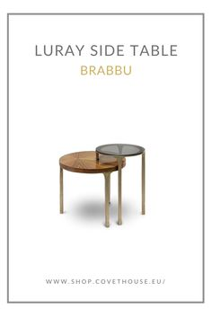 The delicate Luray Side Table is a tribute to the stalactites. Featuring a structure in aged brass and table tops in glossy palisander veneer and bronze glass, this modern side table is sure to impress. Luxury Furniture, Modern Furniture, Modern Side Table, Contemporary Design, Classic Style, Upholstery, Delicate, Bronze, Brass