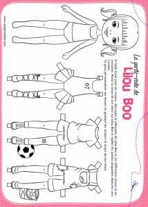 Voici une planche d'habits à colorier pour pouvoir changer les tenues de la petite poupée Lilou Boo. Accessoires à colorier pour la poupée en papier : Lilou BOO.