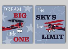 This print collection is the perfect addition to your baby boys airplane-themed nursery. The collection of three airplane prints includes two