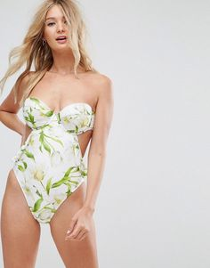 6edf47ec6db73 ASOS FULLER BUST Riviera Floral Print Cupped Frill Bandeau Swimsuit DD  Floral One Piece Swimsuit,