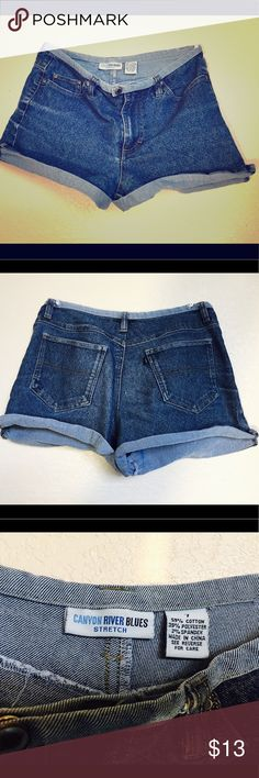 Dark Blue jean shorts Dark blue jean shorts: wore when I was in middle school and I still can't believe I have it all these years! Excellent condition, doesn't look washed up at all. Probably good size for young girls. Canyon River Blues - stretch Bottoms Shorts