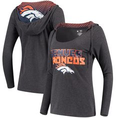 Women's Concepts Sport Charcoal Denver Broncos Viewpoint Tri-Blend Hooded Long Sleeve T-Shirt