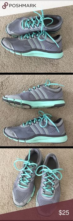 Adidas tennis shoes Adidas grey and mint tennis shoes in size 7. Good condition. Adidas Shoes Athletic Shoes