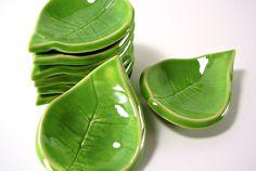Tiny Ceramic Leaf - Tea Light Holder/Ring Holder/Spoon Rest/Tea Bag Holder/Home Decor - Handmade Pottery - Spring Green. $8.50, via Etsy.