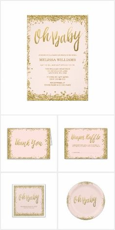 Blush Pink and Gold Glitter Baby Shower Invitation collection. Includes thank you cards, diaper raffle tickets, paper napkins, plates and more!