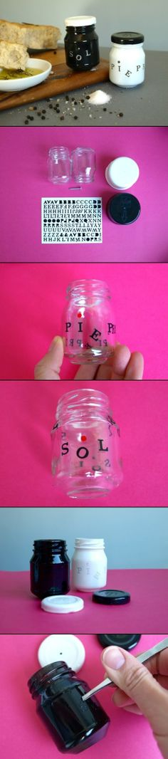 "DIY Salt And Pepper Containers - A perfect way to recycle used jars without having that ""used"" look. Diy Home Crafts, Decor Crafts, Arts And Crafts, Baby Food Jar Crafts, Ways To Recycle, Diy Pins, Bottles And Jars, Mason Jar Diy, Container"