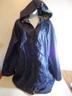 Totes Navy Blue Hooded Raincoat Womens Size Large Floral Lining Spring PVC  #totes #Raincoat