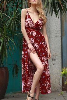 Floral Spaghetti Straps Slit Maxi Dress