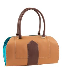 Camel & Turquoise Topstitch Leather Satchel