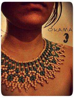Okama ember bead necklace collar en mostacilla de cerámica