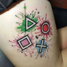 Playstation buttons tattoo mad ink tattoos, gaming tattoo, g Tattoos Motive, Body Art Tattoos, Sleeve Tattoos, Tatoos, Nintendo Tattoo, Gaming Tattoo, Playstation, Button Tattoo, Video Game Tattoos
