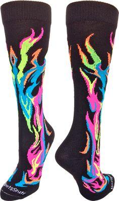 MadSportsStuff Neon Flame Socks- great softball socks, volleyball socks, soccer socks and more...