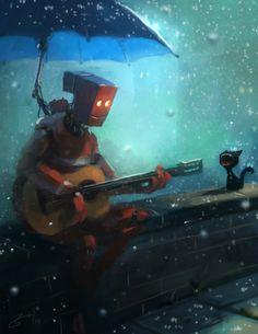 Guitar playing robot in the rain by Goro Fujita