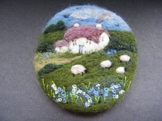 Handmade needle felted brooch/Gift Bluebell Cottage by Tracey Dunn