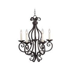 Crafted with solid iron, this single-tier chandelier will add highlighting detail to any space. This 5-light fixture is finished in a bronze that will complement any decor.