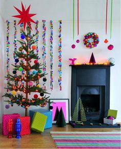 A technicolor palette feels cartoon-like but hip with a Dr. Seuss inspired tree topper and neon brights.