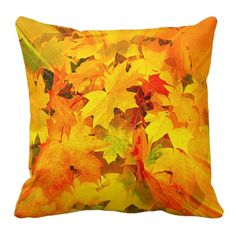 Color Burst of Fall Leaves Autumn Colors Throw Pillows