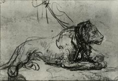 Rembrandt, Study of a Chained Lioness c. 1641, Black chalk, wash in Indian ink, heightened with white, on dark-brown paper British Museum, London