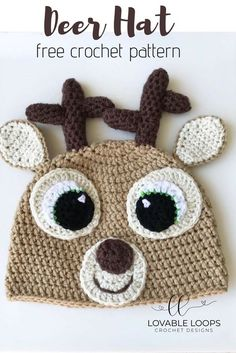 You will love this free Deer Hat crochet pattern! Simply change the color of the nose to red and you have a Reindeer or Rudolph Hat! Crochet Deer, Crochet Flowers, Free Crochet, Simple Crochet, Double Crochet, Crochet Christmas Hats, Crochet Kids Hats, Knitting Patterns, Crochet Patterns