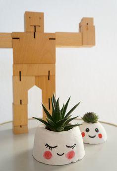 DIY Pflanzen-Köpfe aus Beton nach einer Idee von Johanna Rundel
