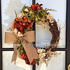 Fall Grapevine Wreath with Hydrangeas and Burlap Bow   Jayne's wreath designs…