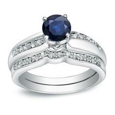 Auriya 14k Gold 3/4ct TDW Blue Sapphire and 1/4ct TDW Round Diamond Bridal Ring Set (H-I, I1-I2) (Rose Gold - Size 6), Women's