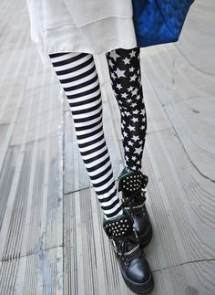 a8a215f497e87 Stripe Star Print Slimming High Elasticity Women s LeggingsLeggings