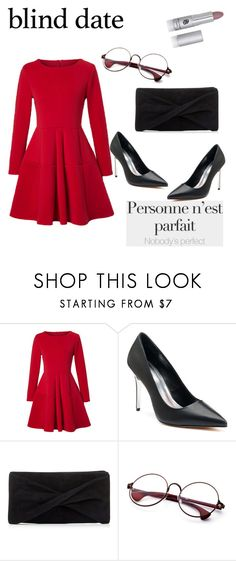 """""""Blind date"""" by emrah-sekic ❤ liked on Polyvore featuring WithChic, Jennifer Lopez, Reiss, reddress, redandblack and blinddate"""