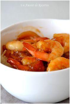 CREVETTE AU GINGEMBRE ET SAUCE SOJA (crevettes décortiquées, gingembre frais ou  oignon, ail, sauce soja Kikkoman, maïzena, poivre)