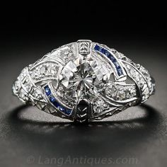 .68 Carat Art Deco Platinum, Diamond and Calibre Sapphire Ring - 10-1-5723 - Lang Antiques- Im dying!
