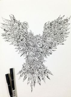 Fantastic tattoo idea! Strikingly Detailed Steampunk Owl Illustration By Doodle Artist Kerby Rosanes