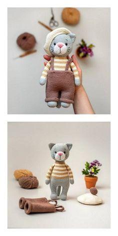 Crochet Cat Pattern, Crochet Amigurumi Free Patterns, Crochet Animal Patterns, Stuffed Animal Patterns, Crochet Dolls, Knitting Patterns, Crochet Animals, Cat Crochet, Knitted Dolls