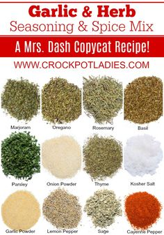 Garlic And Herb Seasoning And Spice Mix Recipe - - Make your own homemade Mrs. Dash Garlic & Herb seasoning with this easy recipe! Homemade Onion Soup Mix, Homemade Ranch Seasoning, Homemade Spice Blends, Homemade Spices, Homemade Seasonings, Spice Mixes, Garlic And Herb Seasoning Recipe, Mrs Dash Seasoning, Seasoning Mixes