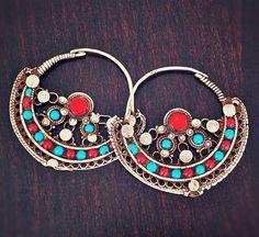 Huge Antique Afghan Hoop Earrings by COSMIC NORBU