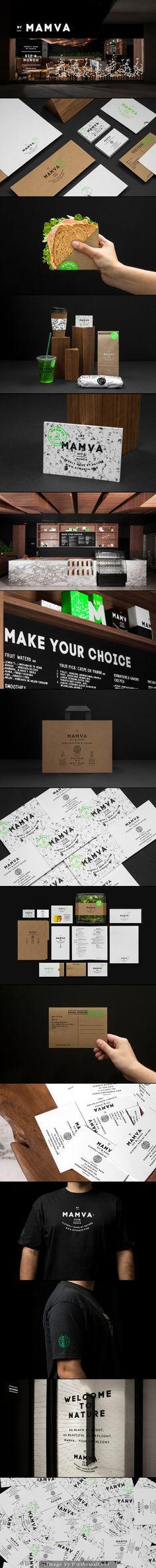 Mamva branding corporate identity stationary logo letterhead business card enveloppe minimal graphic design kraft paper texture packaging eat & drink menu type typography