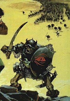 "frazettamolamucho: ""Angus Macbrige art "" The Gates of Mordor, detail Angus McBride, 1987 Fantasy Races, High Fantasy, Fantasy World, Character Portraits, Character Art, Character Design, Fantasy Weapons, Fantasy Warrior, Tolkien"