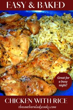 Easy, baked chicken thighs with rice that is perfect anytime or a busy weeknight. Easy, baked chicken thighs with rice that is perfect anytime or a busy weeknight. Southern Baked Chicken Recipe, Chicken Thigh And Rice Recipe, Chicken Thigh Casserole, Chicken Rice Bake, Baked Chicken Breast, Baked Chicken Recipes, Southern Chicken, Baked Chicken With Rice, Chicken Thighs In Crockpot