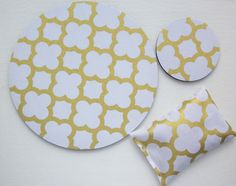 Matching WRIST REST and / or coaster for MousePads  - Pick your own pattern - gray white trellis quatrefoil