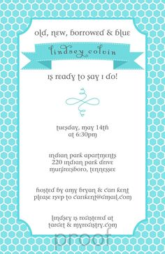 Old New Borrowed and Blue Bridal Shower by LittleLawsPrints, $25.95