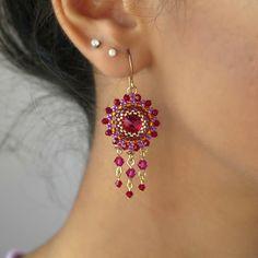 Red Chandelier Earrings Long chandelier earrings by LioraBJewelry. Bead Jewellery, Wire Jewelry, Beaded Jewelry, Crystal Jewelry, Jewelery, Handmade Jewelry, Beaded Necklace, Rock Jewelry, Prom Earrings