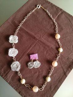 Collana e orecchini con Roselline di pannolenci e perle.